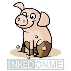Baby Pig Side Pose  Mud