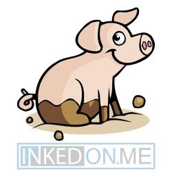 Baby Pig Sitting Sideways In Mud